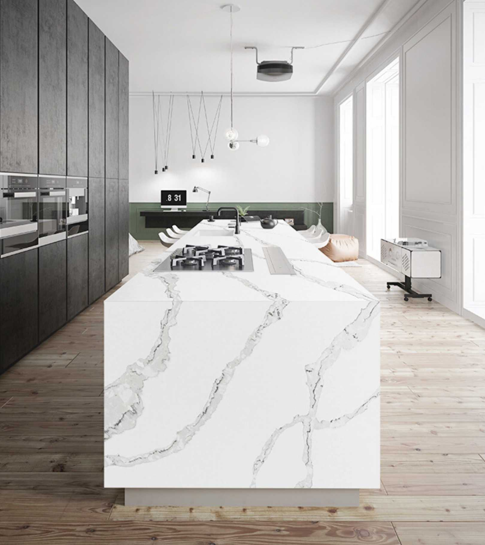 Calacatta Italia quartz kitchen countertop