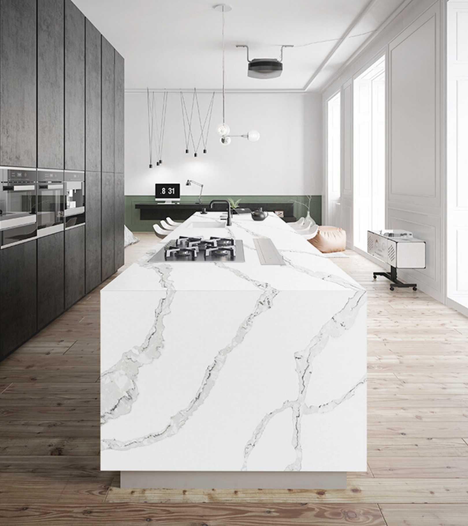 Calacatta Italia quartz kitchen countertop